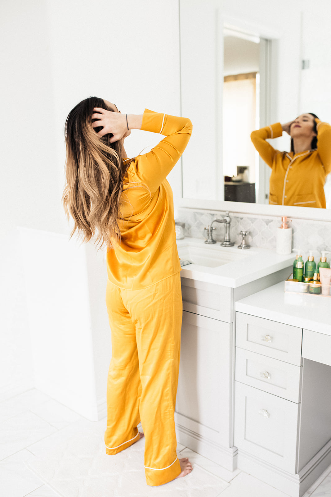 Yellow pajamas for my morning beauty routine
