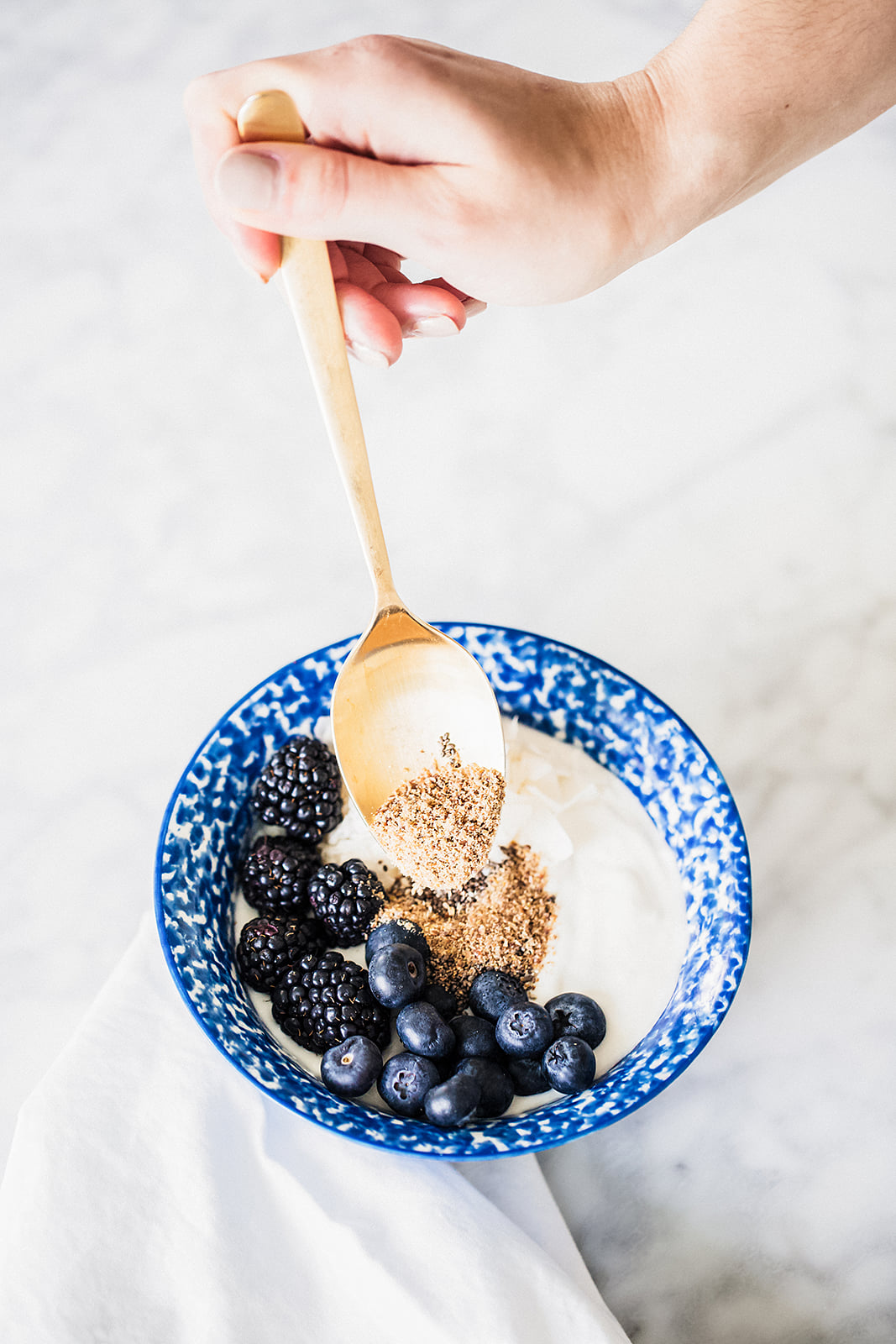 No Processed Sugar: Granola Bowl Topped With Chia Seeds