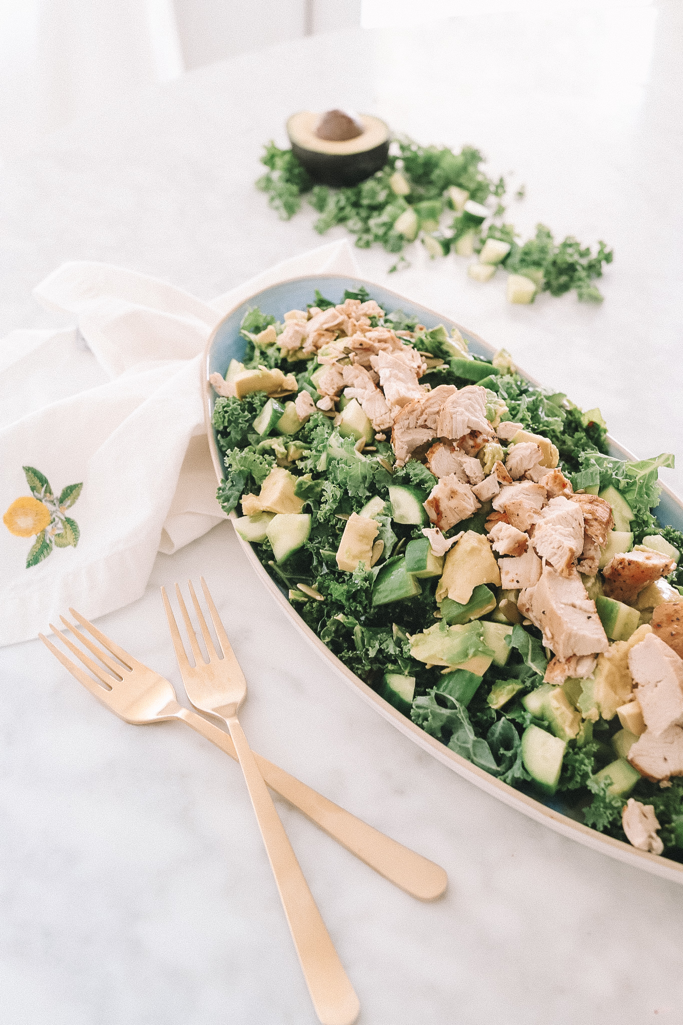 Kale Salad with Chicken - Cooking with Confetti