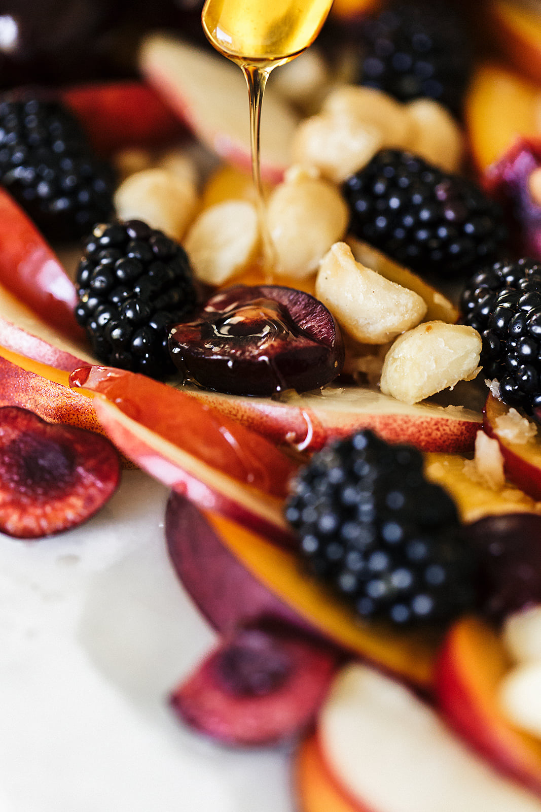 Summer Stone Fruit Salad honey drizzle