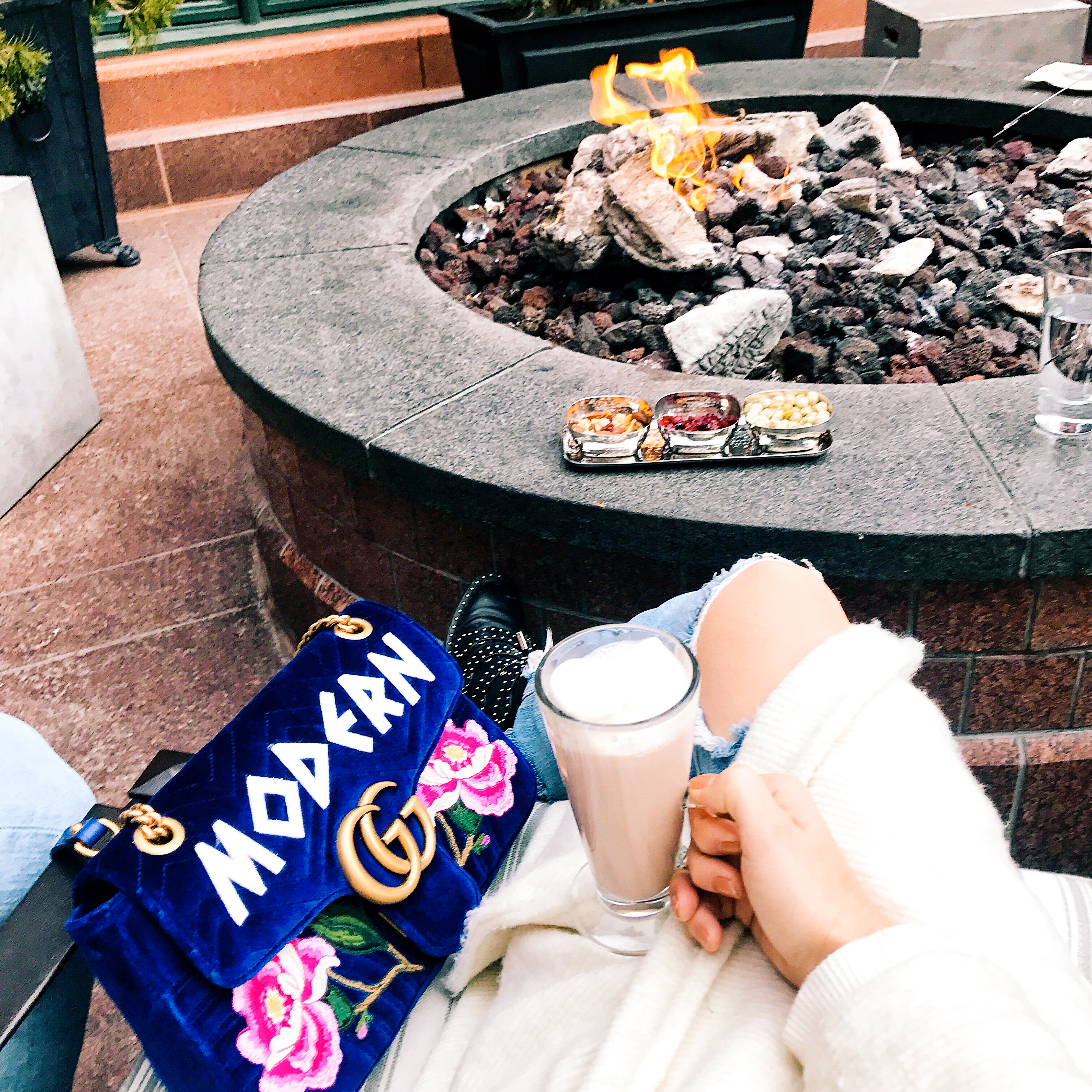 I like to go for hot cocoa and S'mores by the fireplace