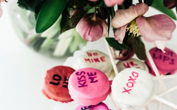 Chocolate dipped Oreos: conversation hearts.