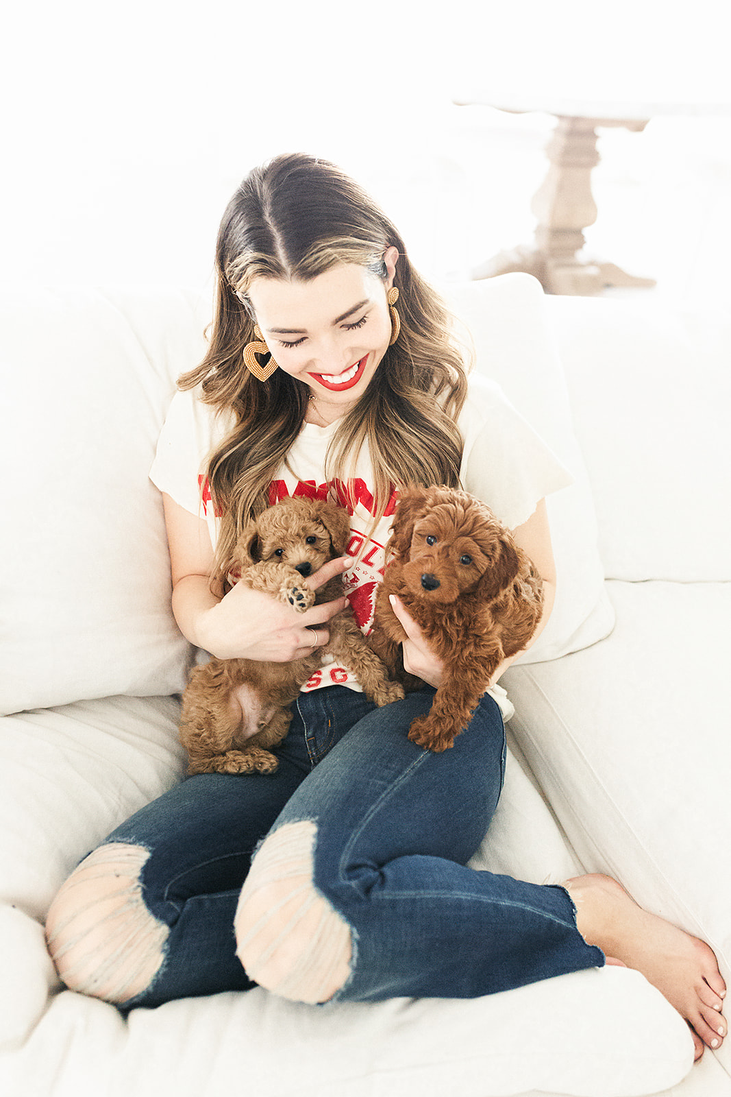 Becca Robson with her puppies
