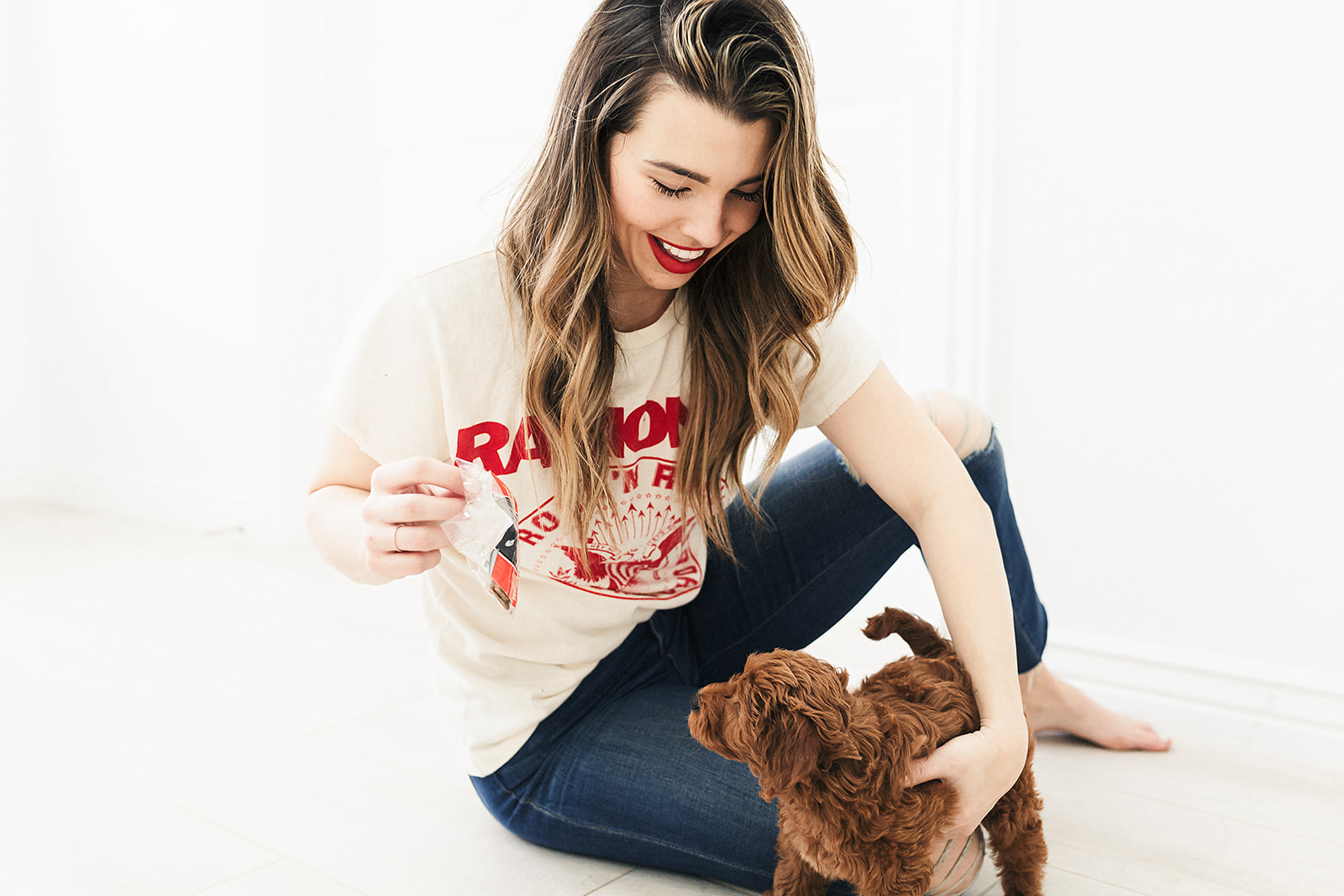Becca Robson with her puppy