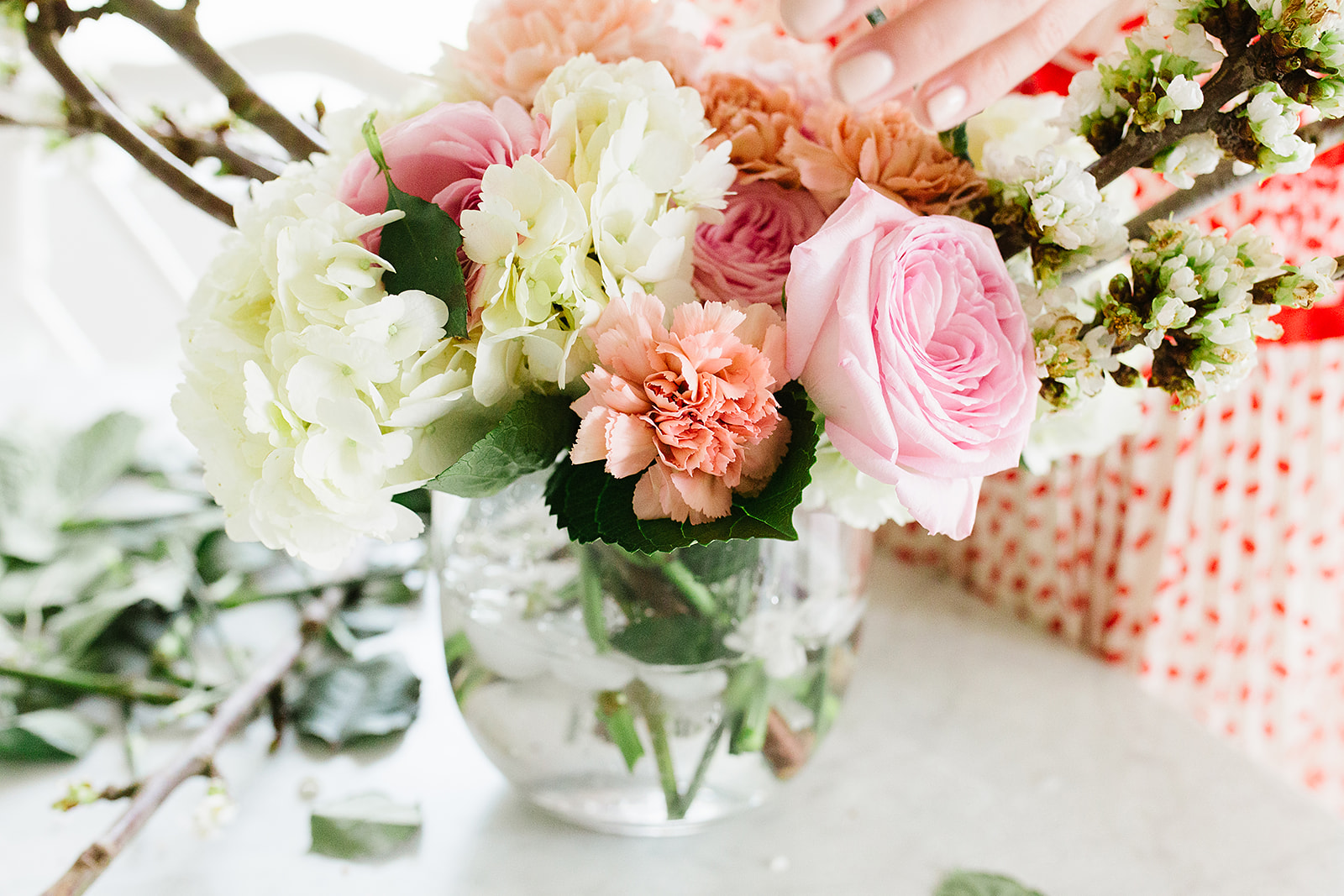 Florals used in this photo: cherry blossoms, hydrangea, carnations, garden roses