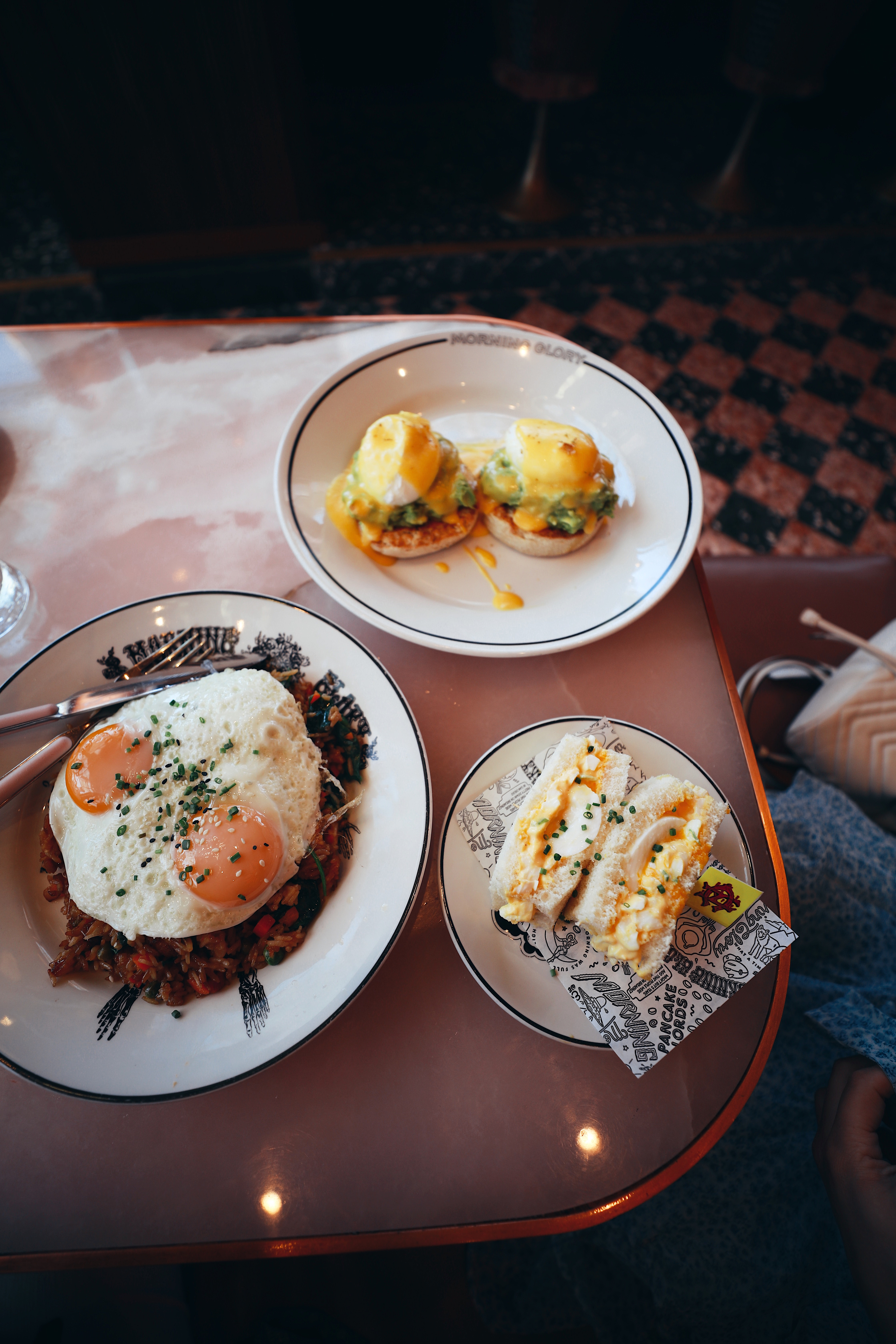 a foodies guide to the beset bites in la jolla, like this breakfast spread of eggs and toast and hash browns
